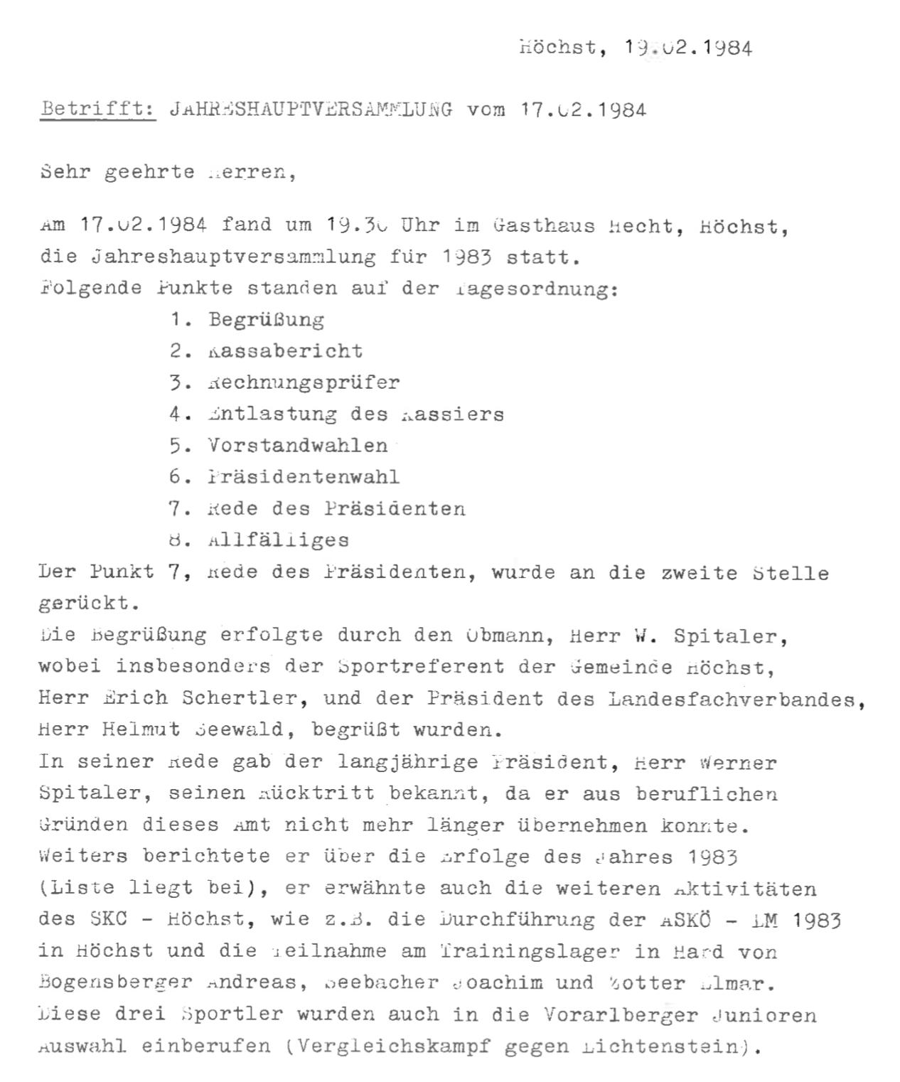 Protokoll der Jahreshauptversammlung des Karateclub Höchst 1984